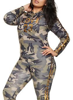 Plus Size Camo Foil Graphic Top - 3951062120039