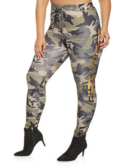Plus Size Camo Foil Graphic Leggings - 3951062120040