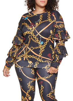 Plus Size Tiered Sleeve Printed Sweatshirt - 3951062124415