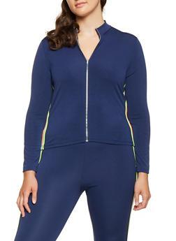 Plus Size Neon Striped Trim Track Jacket - 3951062124469