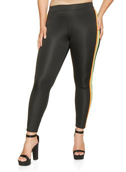 Plus Size Neon Striped Trim Active Leggings - 3951062124470
