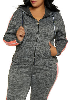 Plus Size Fleece Lined Side Stripe Sweatshirt - 3951063400010