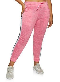 Plus Size Fleece Lined Side Stripe Joggers - 3951063400011