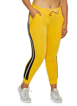 Plus Size Fleece Lined Side Stripe Joggers - 3951063400011