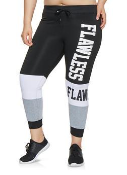 Plus Size Graphic Color Block Sweatpants - 3951063400916