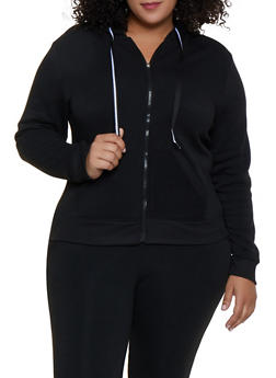 Plus Size Fleece Lined Zip Up Sweatshirt - 3951063402070