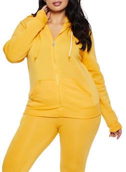 Plus Size Fleece Lined Zip Up Sweatshirt - 3951063402070