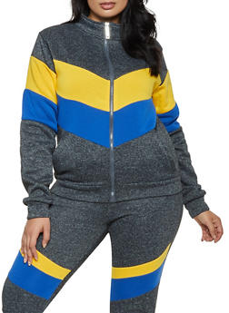 Plus Size Chevron Color Block Zip Sweatshirt - 3951063402514