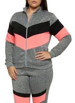 Plus Size Chevron Color Block Zip Sweatshirt - 3951063402514