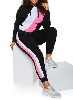 Plus Size Color Block Pullover Sweatshirt - 3951063402540