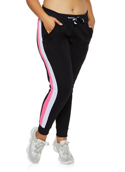 Plus Size Side Stripe Fleece Lined Joggers - 3951063402541