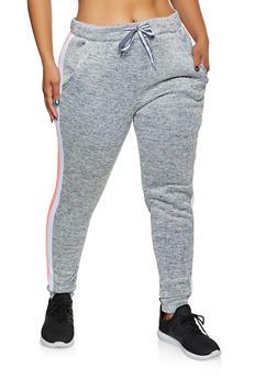 Plus Size Side Stripe Fleece Lined Joggers - 3951063402541
