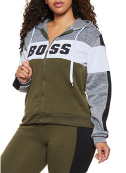 Plus Size Color Block Boss Sweatshirt - 3951063402660