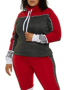 Plus Size Royalty Tape Color Block Sweatshirt - 3951063402760
