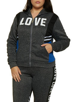 Plus Size Love Color Block Zip Sweatshirt - 3951063402790