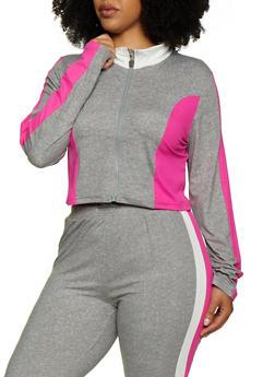 Plus Size Zip Front Color Block Top - 3951063402880