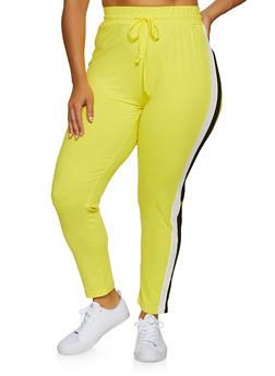 Plus Size Two Tone Stripe Detail Pants - 3951063402881