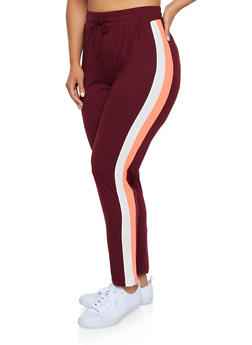 Plus Size Two Tone Stripe Detail Pants - 3951063402881