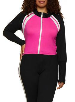 Plus Size Zip Up Cropped Sweatshirt - 3951063403190