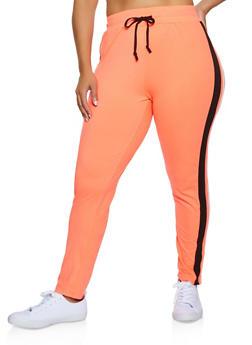 Plus Size Side Stripe Soft Knit Sweatpants - 3951063403191