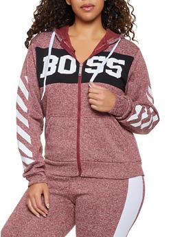 Plus Size Boss Graphic Zip Front Sweatshirt - 3951063403920