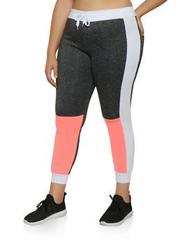 Plus Size Color Block Contrast Trim Joggers - 3951063403921