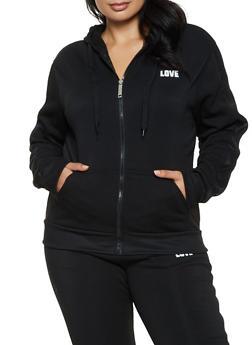 Plus Size Love Sequin Hooded Zip Sweatshirt - 3951063404190