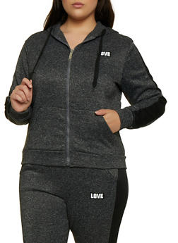 Plus Size Love Sequin Hooded Zip Sweatshirt - 3951063404190