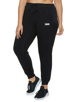 Plus Size Love Graphic Mesh Trim Joggers - 3951063404191