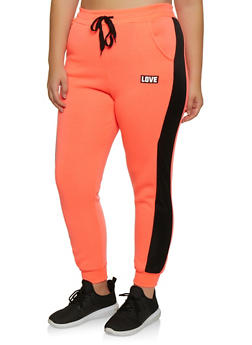 Plus Size Love Graphic Mesh Trim Joggers - 3951063404191