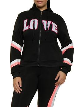 Plus Size Zip Up Love Sweatshirt - 3951063404330