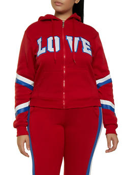 Plus Size Zip Up Love Sweatshirt - 3951063404330