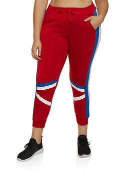 Plus Size Two Stripe Joggers - 3951063404331