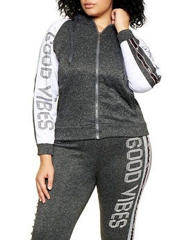 Plus Size Good Vibes Graphic Sweatshirt - 3951063404490