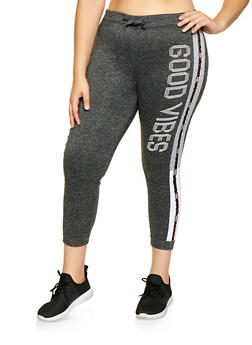 Plus Size Good Vibes Graphic Joggers - 3951063404491