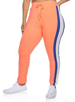 Plus Size Soft Knit Striped Detail Pants - 3951063407871