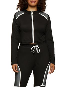 Plus Size Fishnet Detail Cropped Sweatshirt - 3951063407880
