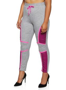 Plus Size Fishnet Detail Soft Knit Sweatpants - 3951063407881