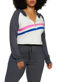 Plus Size Color Block Zip Neck Top - 3951063407900