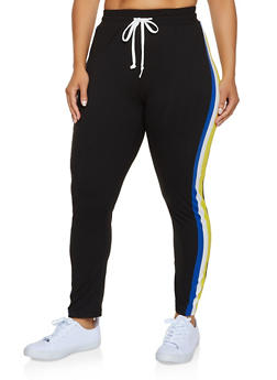 Plus Size Side Stripe Soft Knit Pants - 3951063407901