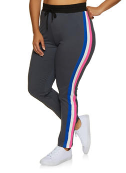 Plus Size Side Stripe Soft Knit Pants - 3951063407901