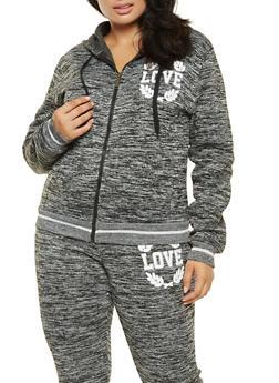 Plus Size Sequin Love Graphic Sweatshirt - 3951063407914