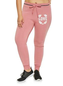 Plus Size Love Graphic Sweatpants - 3951063407915