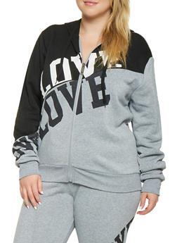 Plus Size Color Block Love Graphic Sweatshirt - 3951063407930