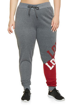 Plus Size Love Graphic Color Block Sweatpants - 3951063407931