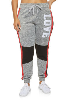 Plus Size Love Graphic Sweatpants - 3951063407938