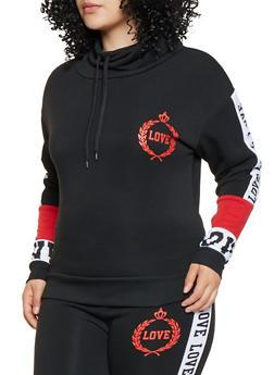 Plus Size Love Graphic Sweatshirt - 3951063408198