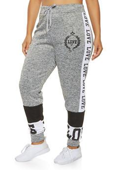 Plus Size Love Graphic Sweatpants - 3951063408199