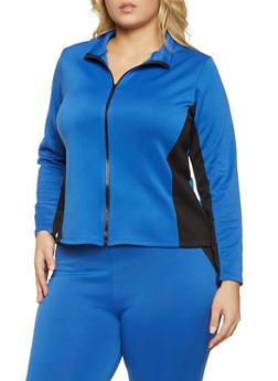 Plus Size Color Block Scuba Track Jacket - 3951074013770