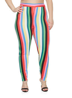 Plus Size Vertical Stripe Leggings - 3951074286108